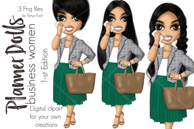 Business Woman Planner Icon Short Hair Girl Working Mom Etsy Business Woman Planner Girl Short Hair Planner Icons