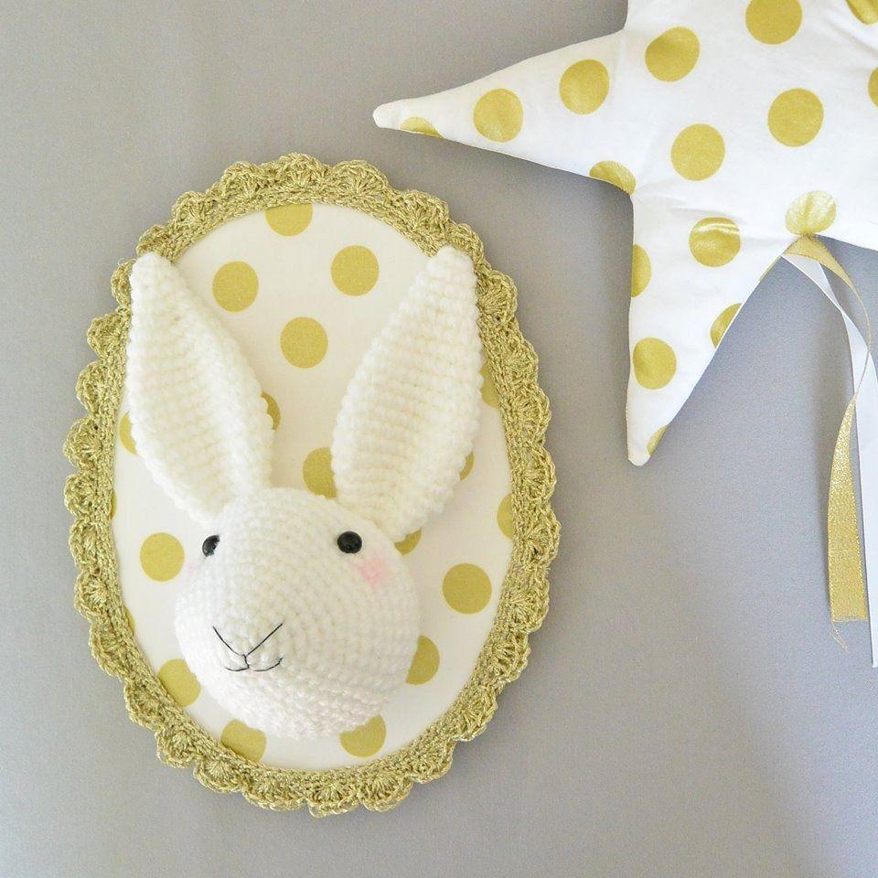 Troph e lapin or fait main au crochet d corations Trophee chambre bebe