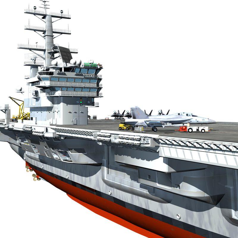 Uss Reagan Cutaway Aircraft Carrier 3d Obj