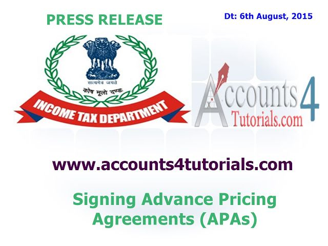 Income Tax Press Release Advance Pricing Agreements Apas Income