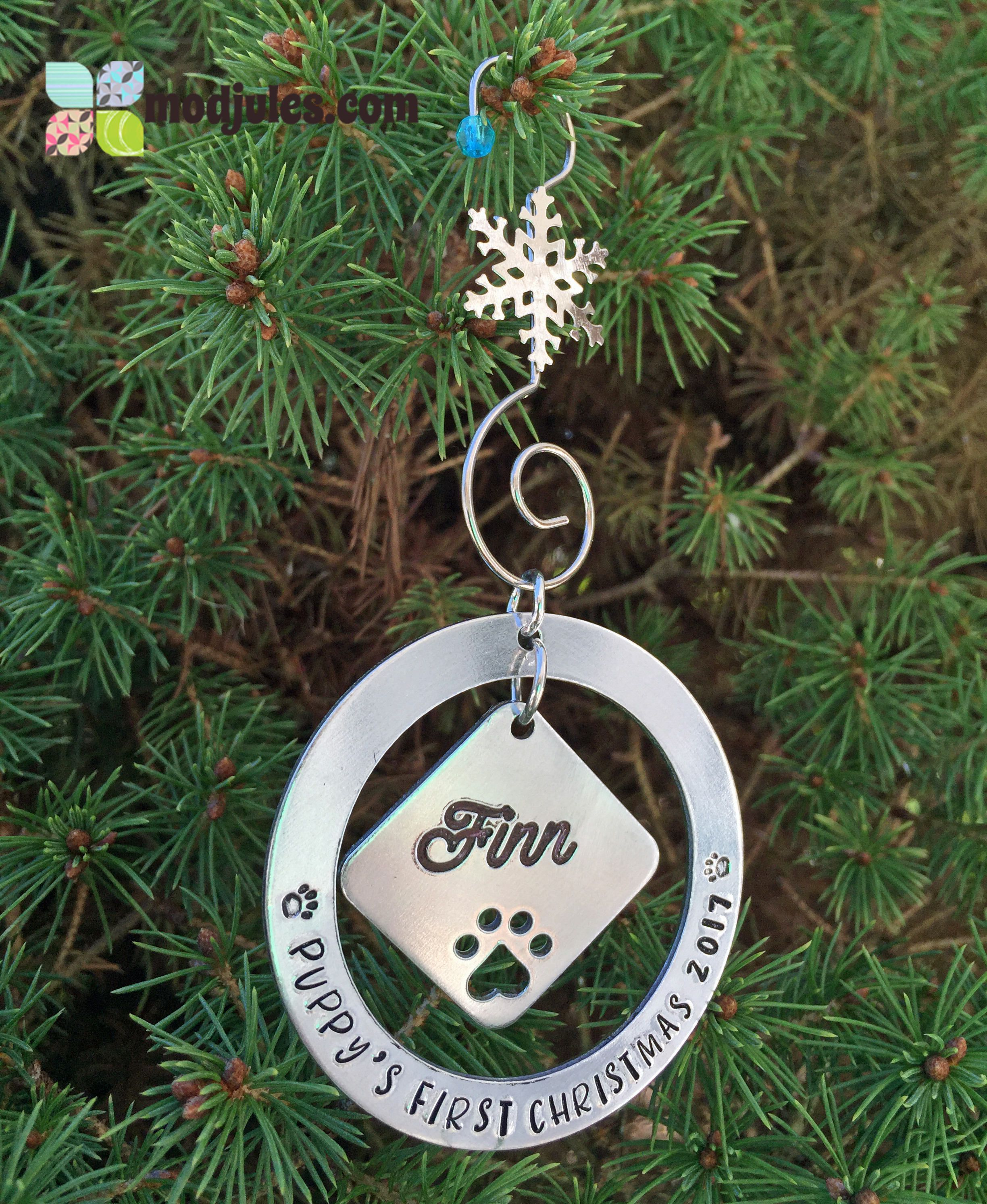 hand stamped pet christmas ornament dog christmas ornament puppys first christmas kittys first christmas cat christmas ornament by modjules on etsy