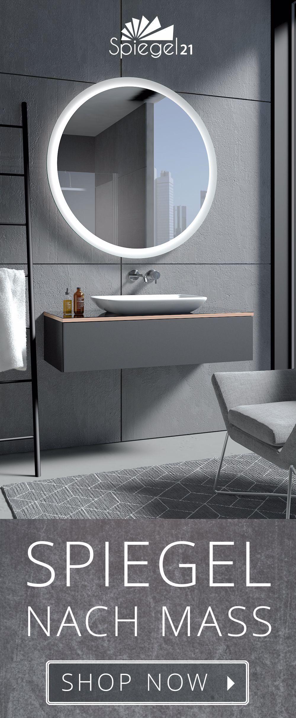 Runder Badspiegel Charon Ab 40 Cm Bis 120 Cm Durchmesser Spiegel Nach Mass Mit Lichtstarker L In 2020 Round Mirror Bathroom Bathroom Mirror Lights Bathroom Mirror