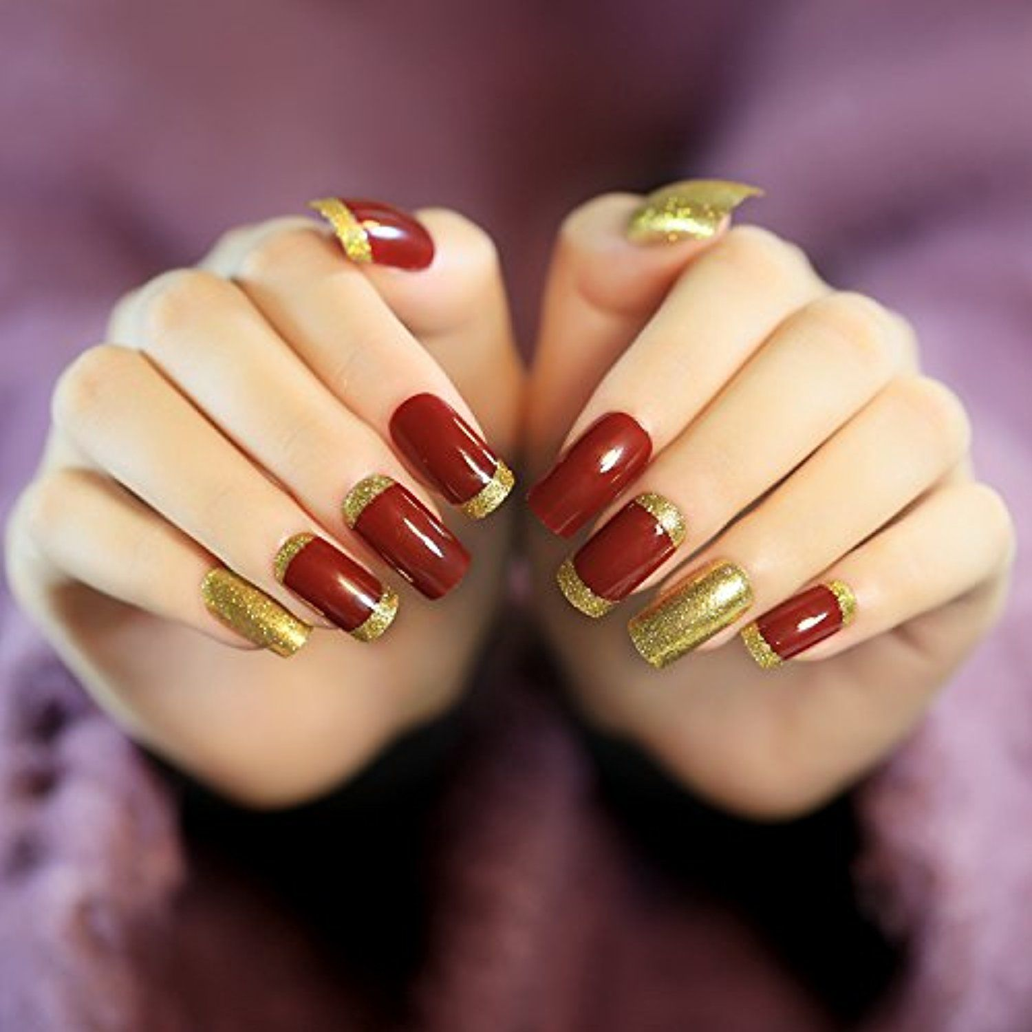 YuNail Honorable 24 Pcs Wine Red with Golden Glitter Long Artificial ...