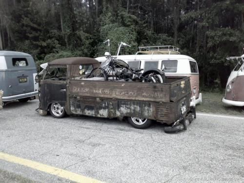 Motorcycle transport in a VW truck