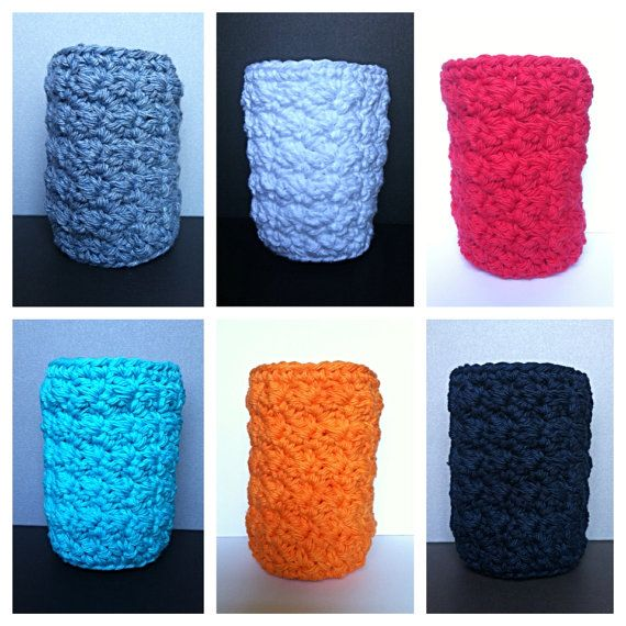 Crochet Koozie Blue Jeans $4.00  100% cotton by ARiddleCreation on Etsy