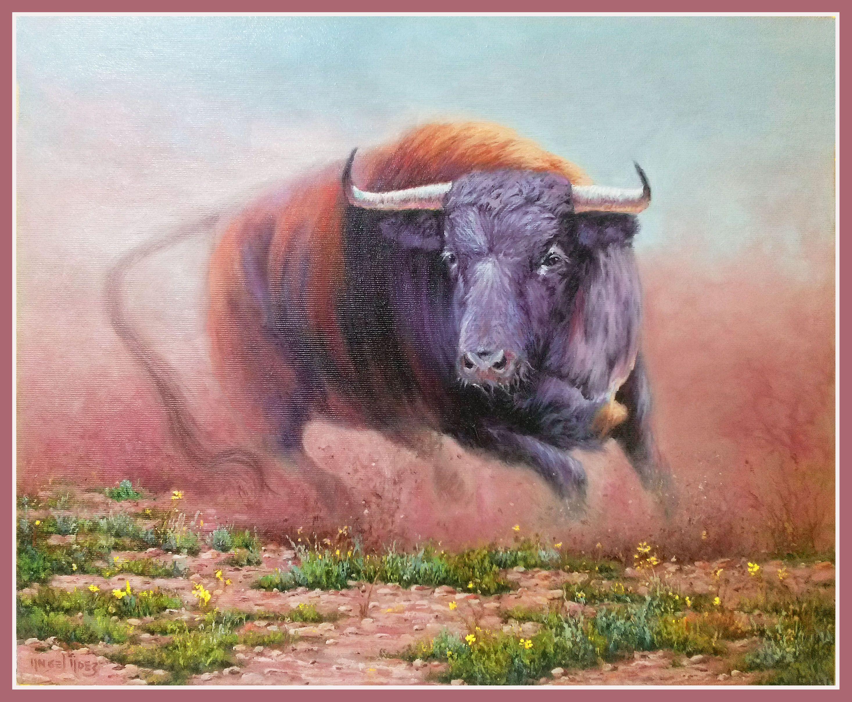 Toro Bravo En El Campo Cuadro Original óleo Sobre Tabla Comprar Cuadros Toros Bravos Cuadro Originales Toros