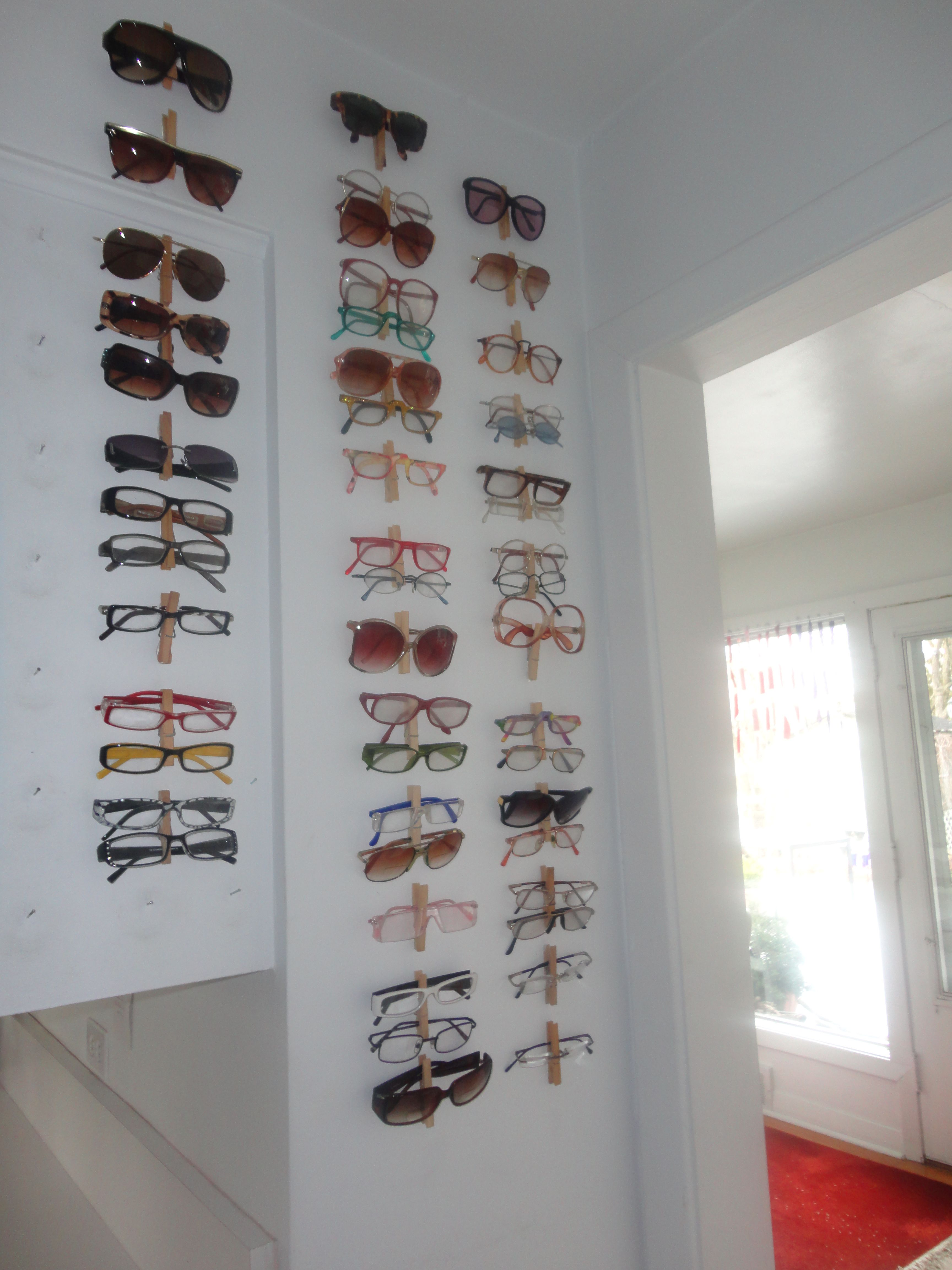 organize your glasses with clothing pins on the wall this on walls insulated coveralls on sale id=19690