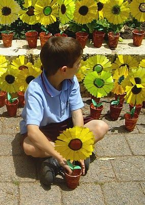 Grade 1 students made these potted sunflowers to celebrate the beginning of Spring. Plant pots are paper cups painted brown, a kebab skewer was painted green for the stem and the sunflowers were coloured and cut out from a template I created. I poured a little plaster into each cup to it weigh down and to plant the flowers in. Students made leaves from scraps of green card and glued to the stem.