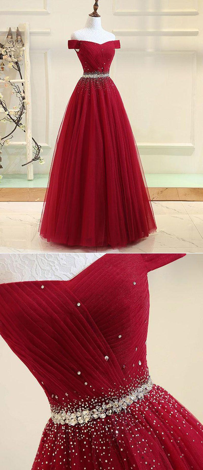 Elegant Long Prom Dresses With Sparkle Crystal Belt Off The Shoulder Wine Red Navy Blue Pl6634 Wine Red Dresses Long Elegant Red Dress Red Prom Dress Long [ 1849 x 800 Pixel ]