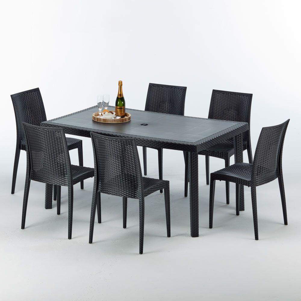 Table Rectangulaire Et 6 Chaises Poly Rotin Colorees 150x90 Noir