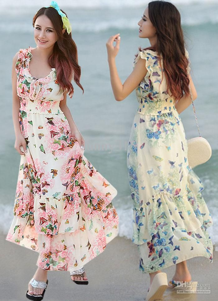 White and pink maxi dresses for women