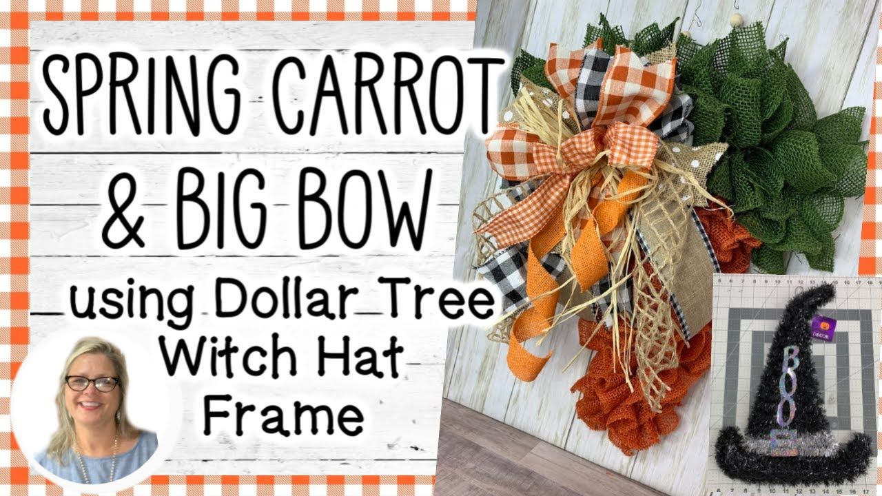 Halloween 2020 Photo Frame With Bow 🥕🌼🐰 *NEW* Spring Carrot using a Dollar Tree Witch Hat Frame and