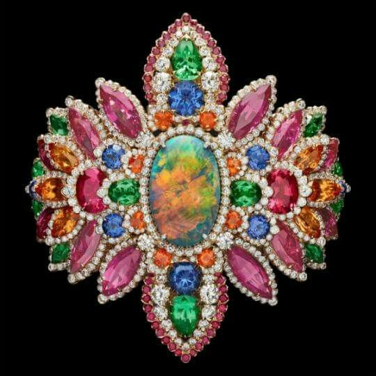 Some serious color for your Saturday... 'Dentelle Opale d'Orient' Bracelet Dior collection. - platinum, diamonds, black opal, pink spinels, garnets, tanzanites and rubies.