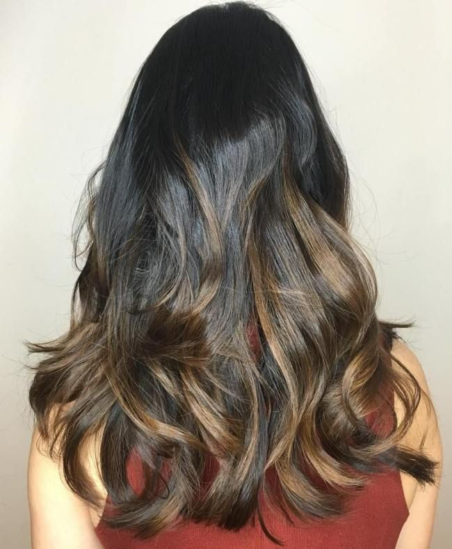 Caramel Against Dark Long Hair Can Easily Showcase Color Beautifully Brown With Highlights Is One Strong Example Of How
