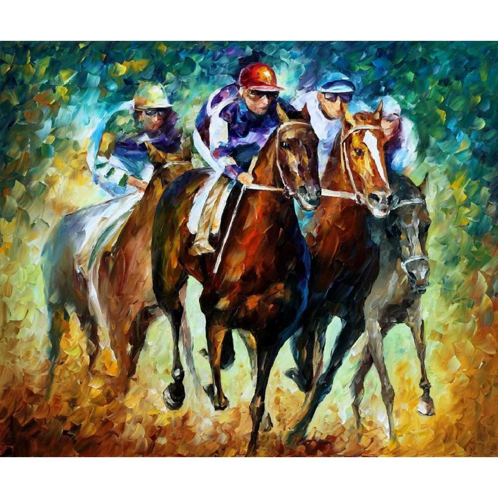 Palette knife oil painting on canvas riders modern wall art horse