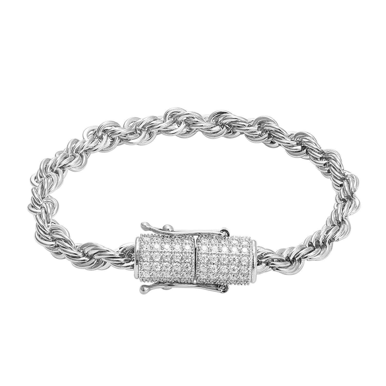 Stainless steel k white gold finish mm rope bracelet designer new