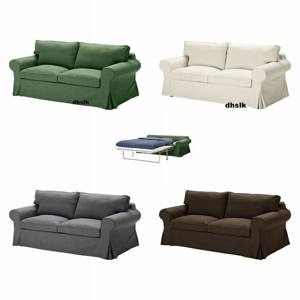 IKEA EKTORP Sofa Bed SLIPCOVER Sofabed Cover SVANBY GREEN GRAY BROWN