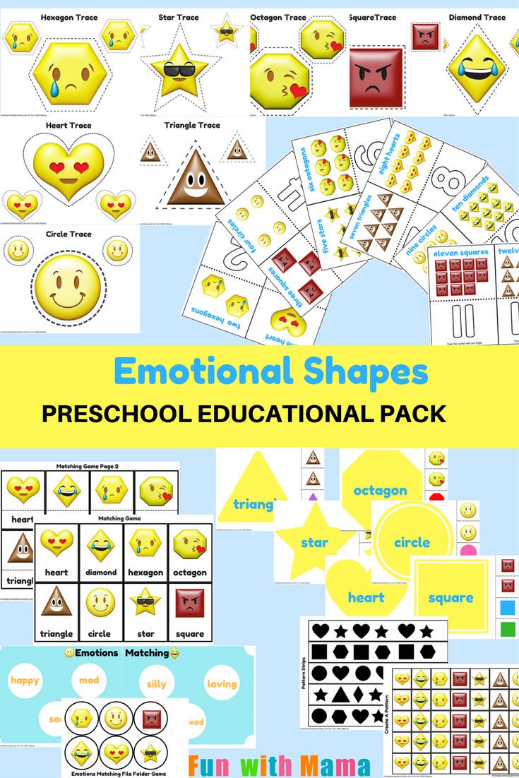 Emotions + Shapes Free Printable Preschool Pack   Free printable ...