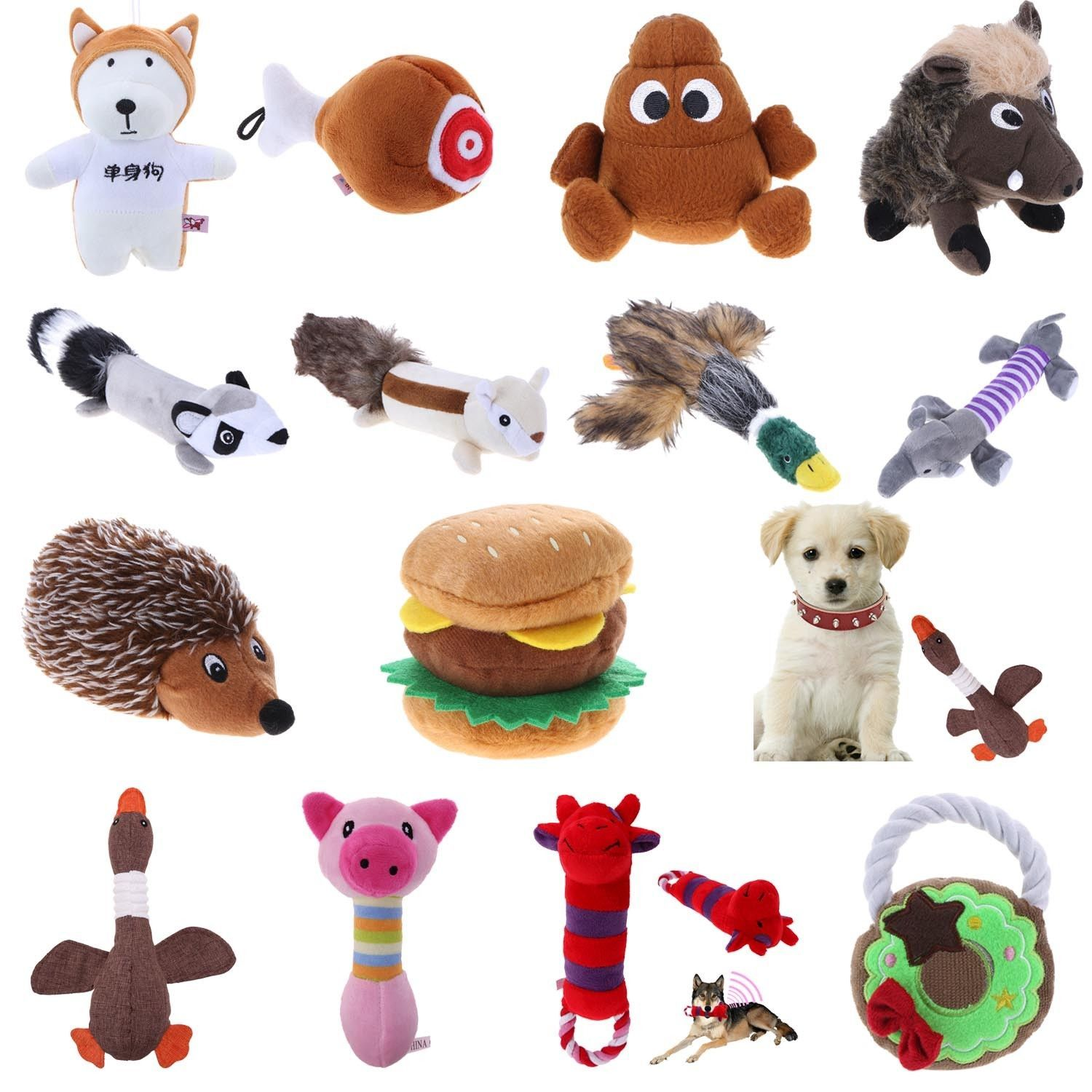 2 38 Animals For Dog Toy Play Funny Pet Puppy Chew Squeaker