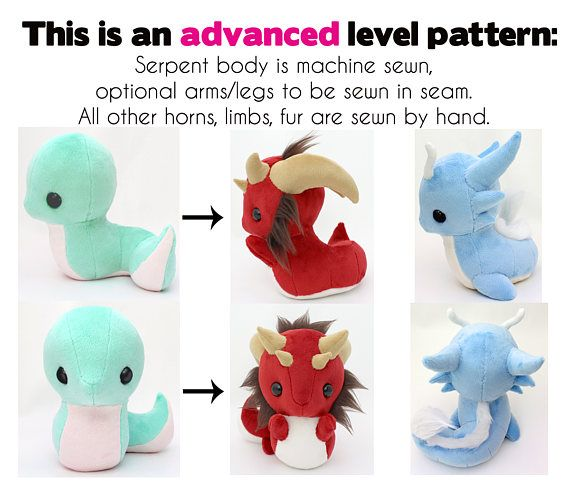 Pdf Sewing Pattern With Videos Snake And Dragon Stuffed Animals