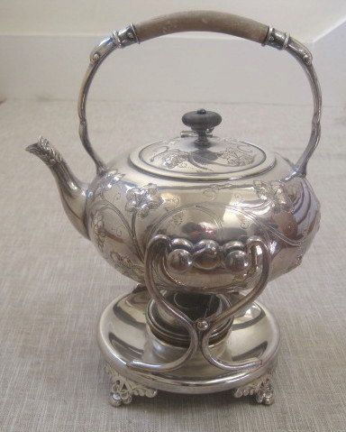 Antique Silver Plate Teapot / Warming Stand Pat. by MarcheDesPuces & Antique Silver Plate Teapot / Warming Stand Pat. by MarcheDesPuces ...