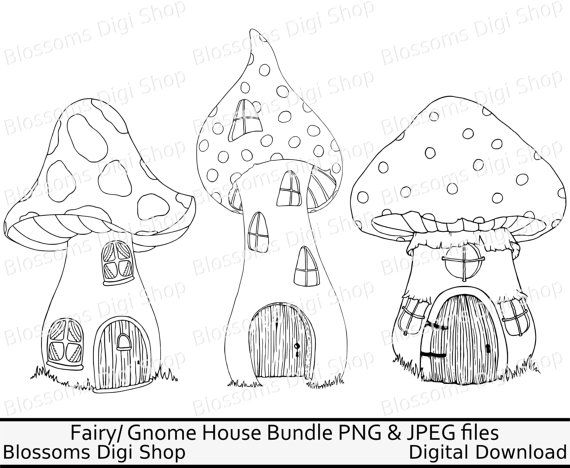 Fairy Mushroom House Bundle Png Digital Download Fairy Clipart