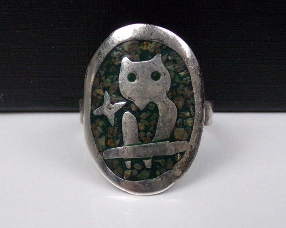 Old Mexican Sterling Silver 925 Inlaid OWL by LittleBittreasures