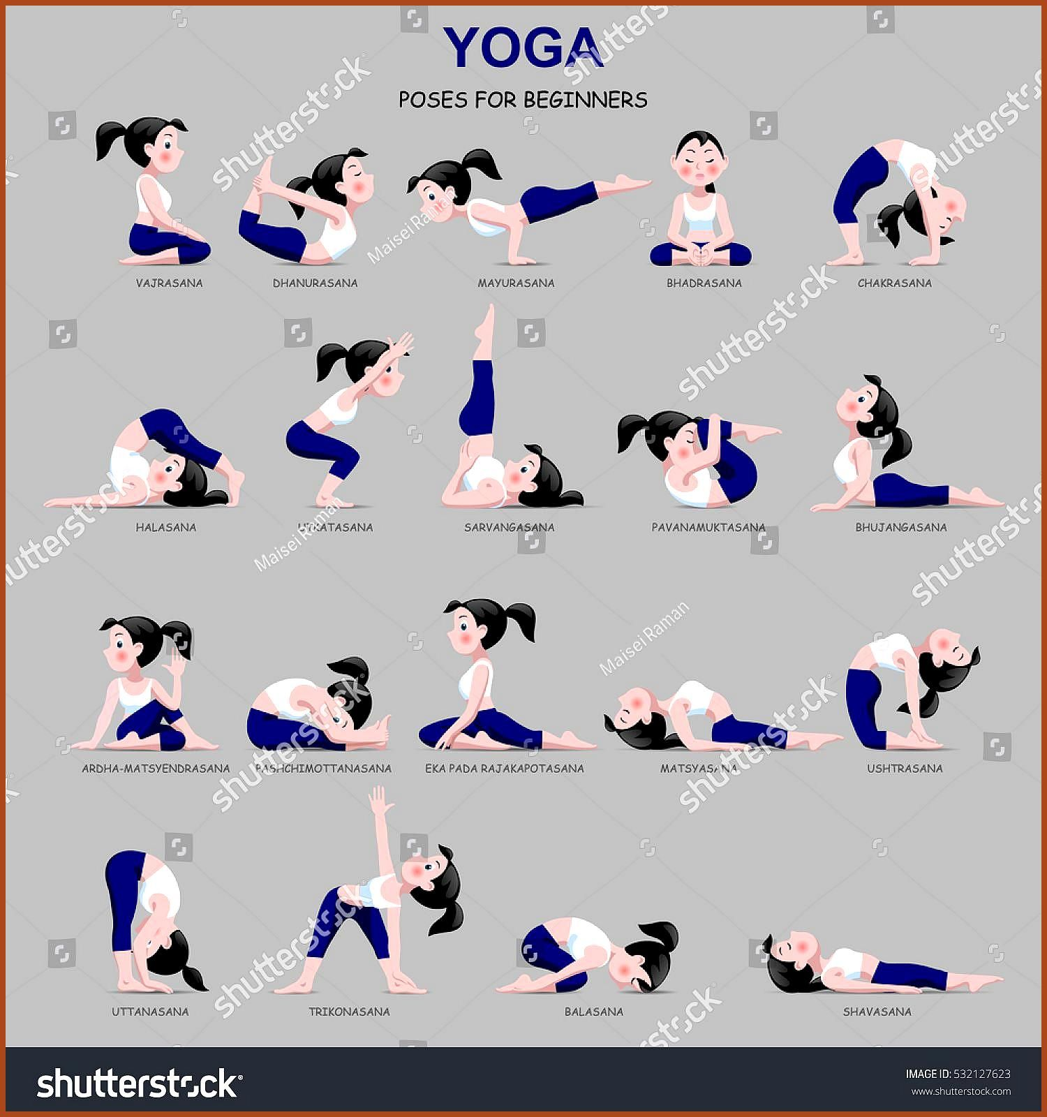 Fitness exercises with cartoon girl in blue and white suit isolated on gray background Yoga Poses se...