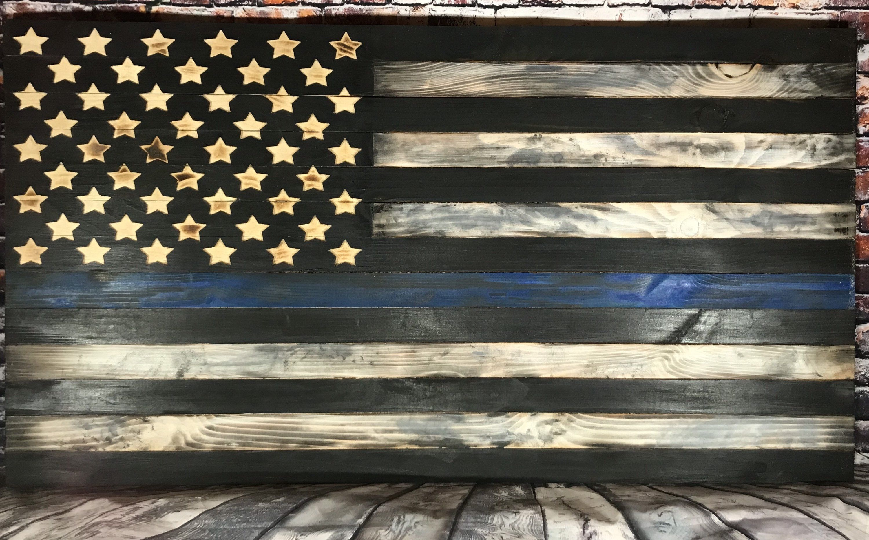 Police American Flag Thin Blue Line Wall Hanging Wall Etsy In 2020 American Flag Wood Wood American Flag Diy Wooden American Flag