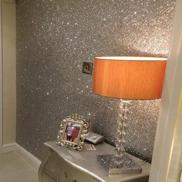 The Glittery World Of Silver Bedroom Ideas: Glitter Silver Chunky Textured Metallic Foil Wallpaper