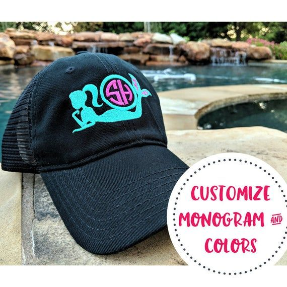 Monogrammed Mermaid Hat, Mermaid Messy Bun Hat, Mermaid High Ponytail Cap, Monogrammed Mermaid Gift, Monogrammed Mermaid Present, mermaids #kidsmessyhats