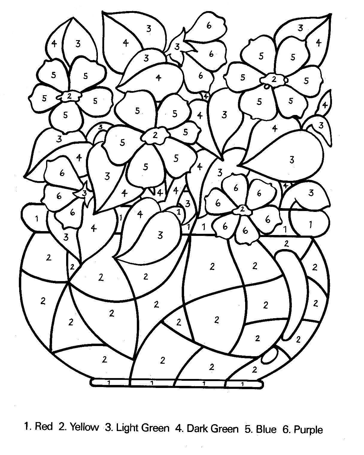 Colouring pages with colour - Floral Color By Number