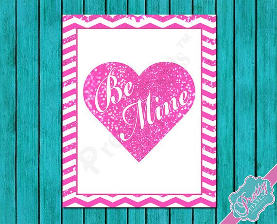 Be Mine Glitter Heart  Valentines day  Pink by PrettyPixelsForYou, $3.00
