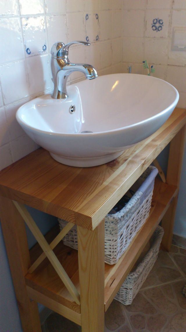Mariuszo Galeria Drewniany Blat Stolik Pod Umywalke Umywalka Nablatowa Nawiazujaca Ksztaltem Do Miski Postarzane P Home Decor Basement Bathroom Sink