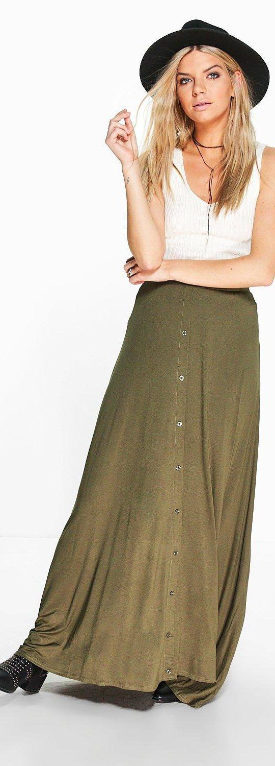 Ruby 90's Grunge Style Button Front Maxi Skirt - Skirts  - Street Style, Fashion Looks And Outfit Ideas For Spring And Summer 2017