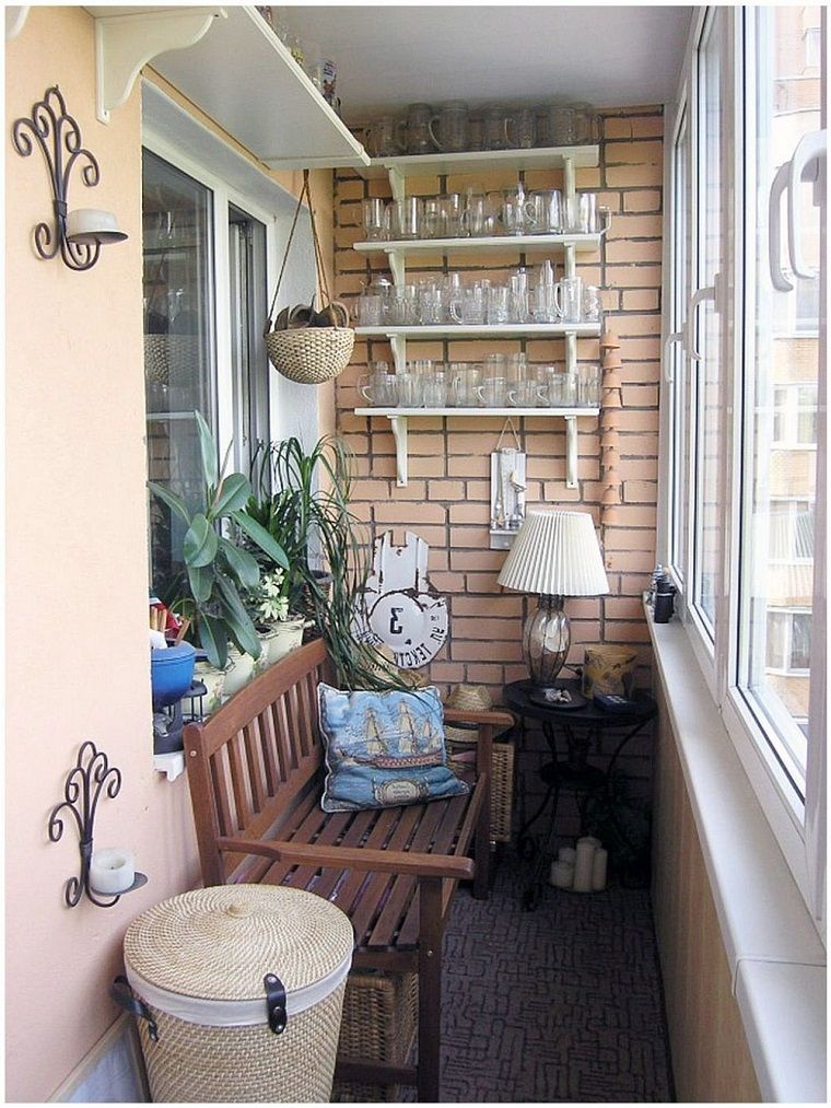 Terraza peque a con banco de madera decoraci n de for Banco para terraza