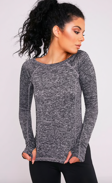 f4215d1a412fac Black Long Sleeve Gym Top Featuring super soft marl fabric and long sleeves.  This gym top hugs your curves. Team with a pair of gym leggings for that  active ...