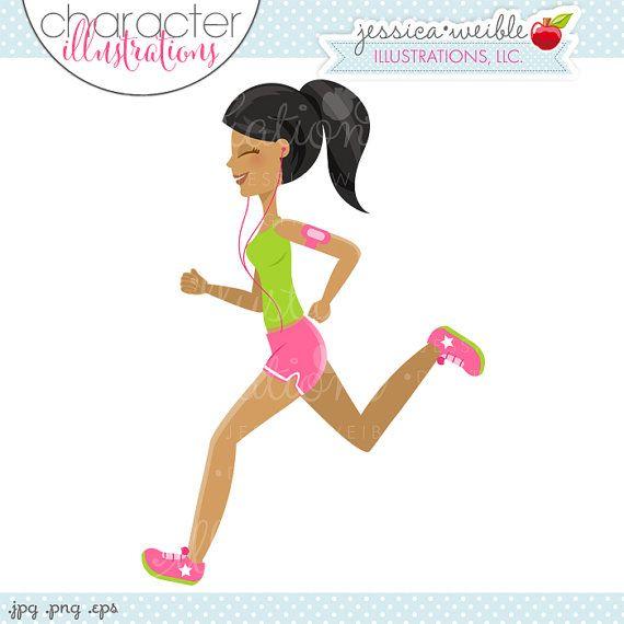 Dark Skin Running Girl Character Illustration - Black Hair Woman Running…