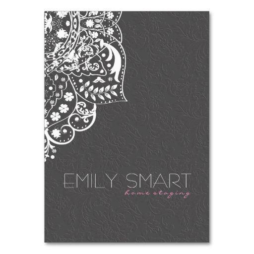 Elegant Gray Damasks White Vintage Lace Business Card Template. Make ...