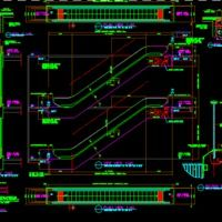 Escalator Dwg Autocad Drawing 2d Stairways Projects