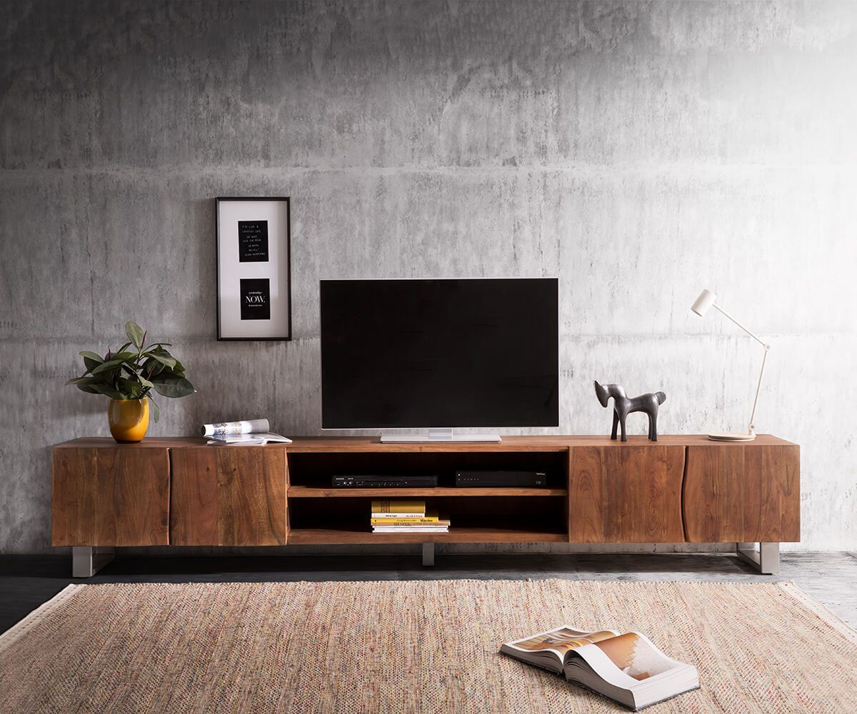delife lowboard live edge 300 cm akazie braun 2 t ren 2 f cher fernsehtische baumkantenm bel. Black Bedroom Furniture Sets. Home Design Ideas