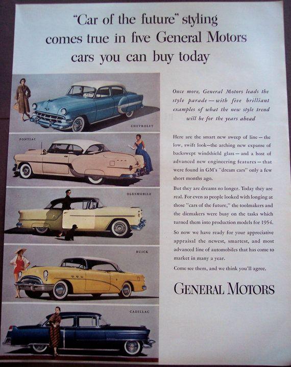 =-=1954 Car AD General Motors Chevrolet Pontiac