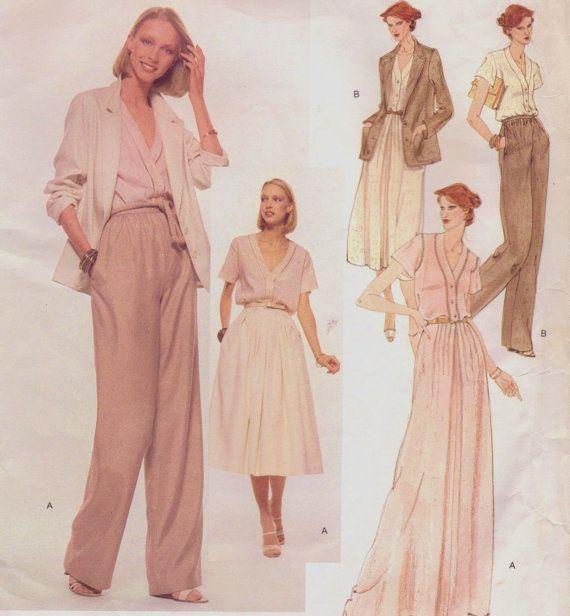70s vogue #70s Anne Klein 70s Vogue American Designer Sewing Pattern 1883 Womens Below Hip Jacket, Blouse, Dirndl Skirt amp; Pants Size 14 Bust 36 FF