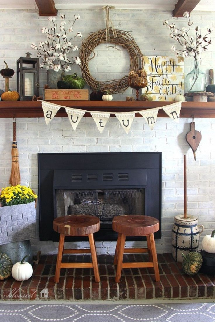 Fall Fireplace Decor with Pretty Cotton Stems