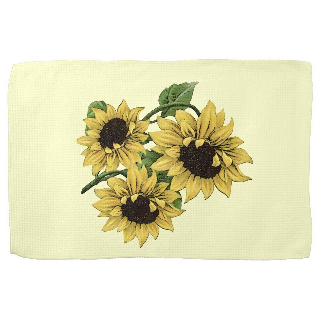 Vintage Watercolor Sunflower Design Towel | Zazzle.com