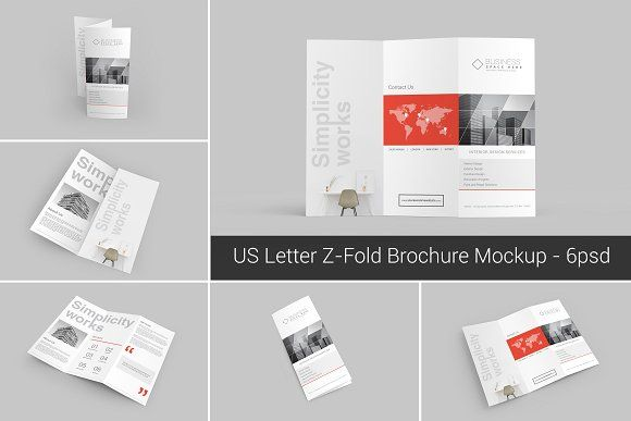 Us Letter ZFold Brochure Mockups By Shrdesign On Creativemarket