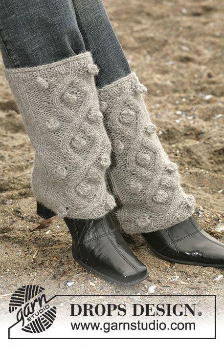 Calientapiernas DROPS con trenzas en Alpaca | calentadores ...
