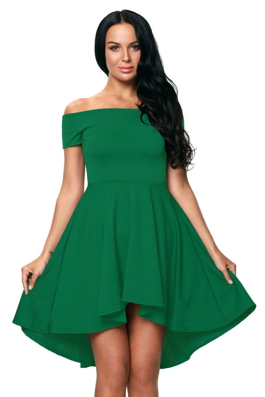 Off the shoulder gorgeous green elegant slim fitting skater dress