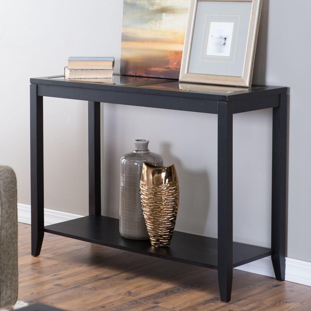 Glass Top Console Table Quatrefoil Underlay Modern Black Wood Living