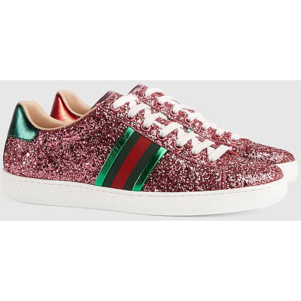 344b2241f Gucci Ace Glitter Low-Top Sneaker ($585) ❤ liked on Polyvore featuring  shoes, sneakers, rubber sole shoes, striped sneakers, low profile shoes,  gucci ...